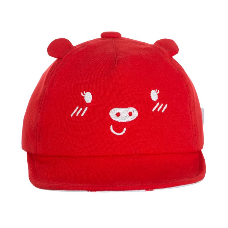 歌瑞家A类女童红色针织软檐帽遮阳帽儿童帽子