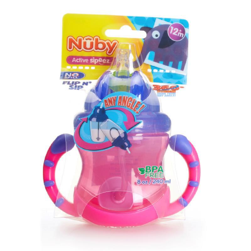 努比(Nuby)240ml双耳防漏360度吸管杯(颜色随机)