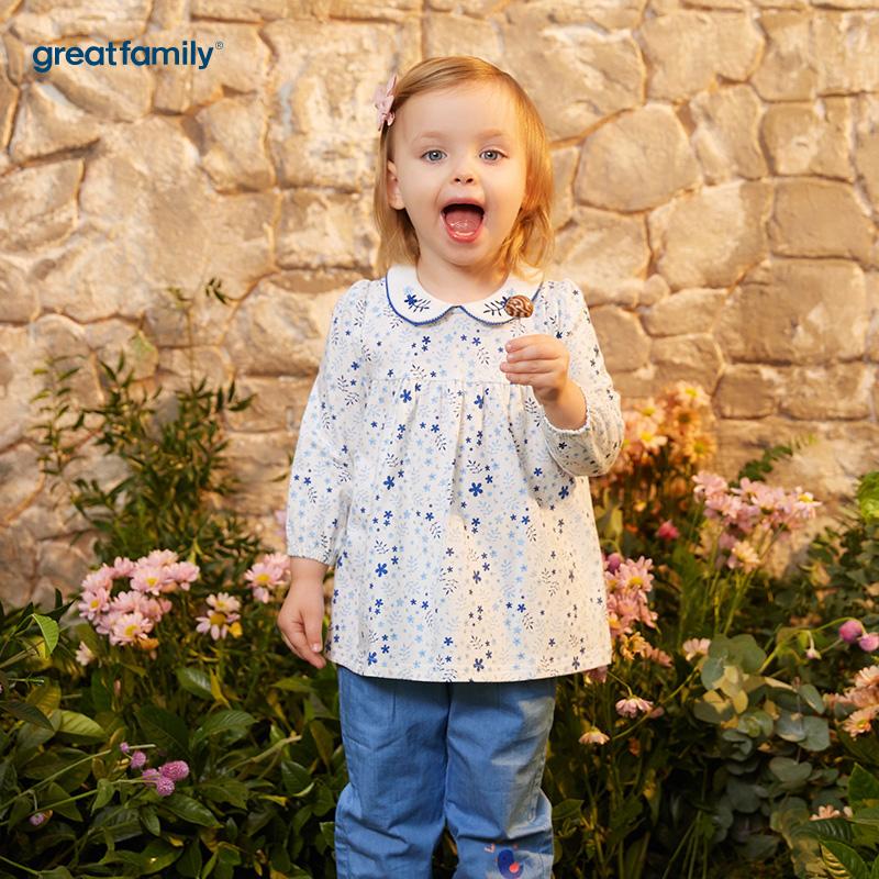 歌瑞家(婴外)A类梦想王国花色女娃娃领T恤