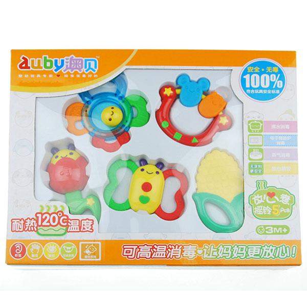 澳贝(Auby)水煮牙胶摇铃5只装耐120度高温消毒安全益智