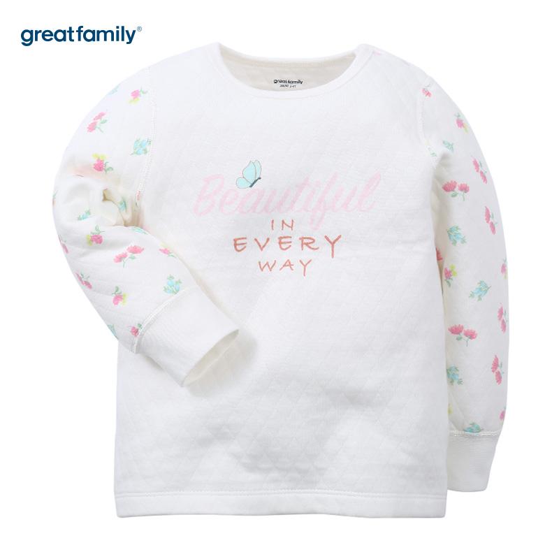 歌瑞家(Greatfamily)A类女童花色三保暖印花长袖圆领/内衣/家居服