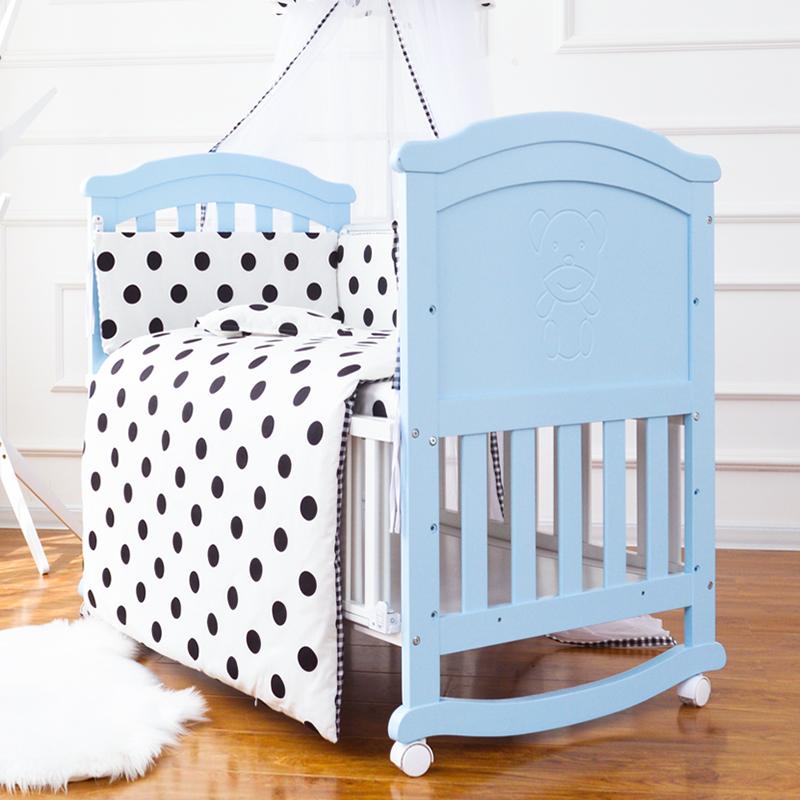 宝利源实木欧式婴儿摇床 蓝色