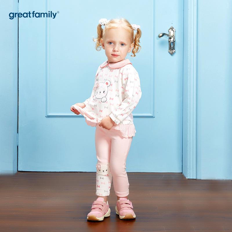 歌瑞家(Greatfamily)A类女宝宝花色纯棉娃娃领卫衣