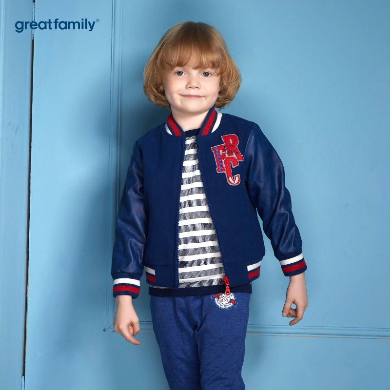 歌瑞家(Greatfamily)A类经典校园男童藏青色仿毛呢拼接蓝色PU材质立体毛巾绣字母徽章装饰棒球外套