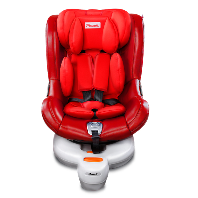 pouch儿童安全座椅0-4岁前支撑腿双向侧向安装汽车用座椅ISOFIX红色