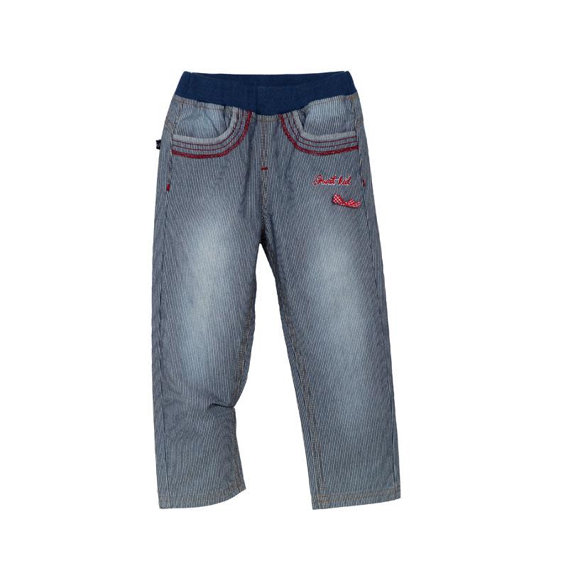 歌瑞家A类女童牛仔色直筒竖条梭织长裤