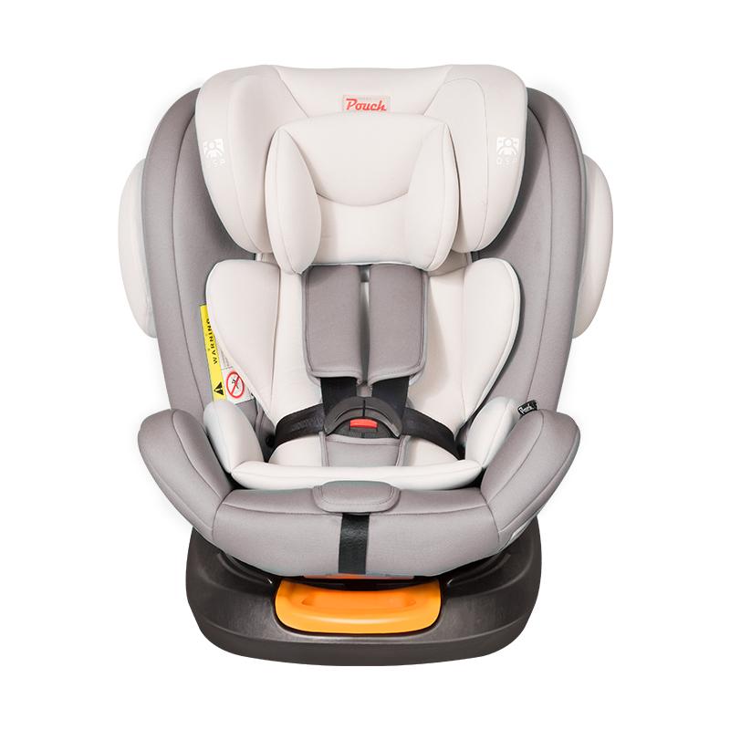 Pouch安全座椅360度旋转儿童宝宝汽座ISOFIX接口汽车用0-12岁 KS19 三代 浅灰色