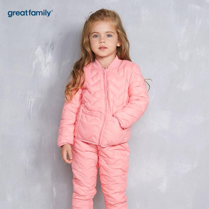歌瑞家(Greatfamily)A类女童粉色绗缝立领羽绒内穿上衣/内胆