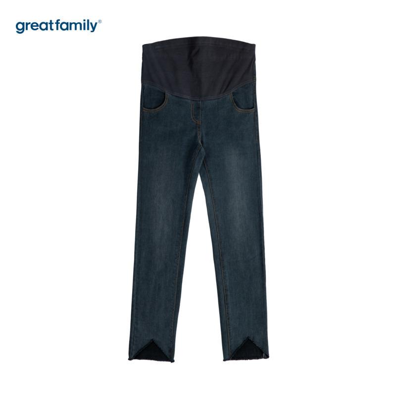歌瑞家孕外三角剪边牛仔裤