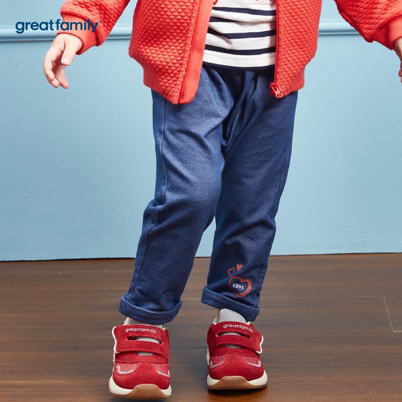 歌瑞家(Greatfamily)A类女宝宝牛仔色纯棉PP裤