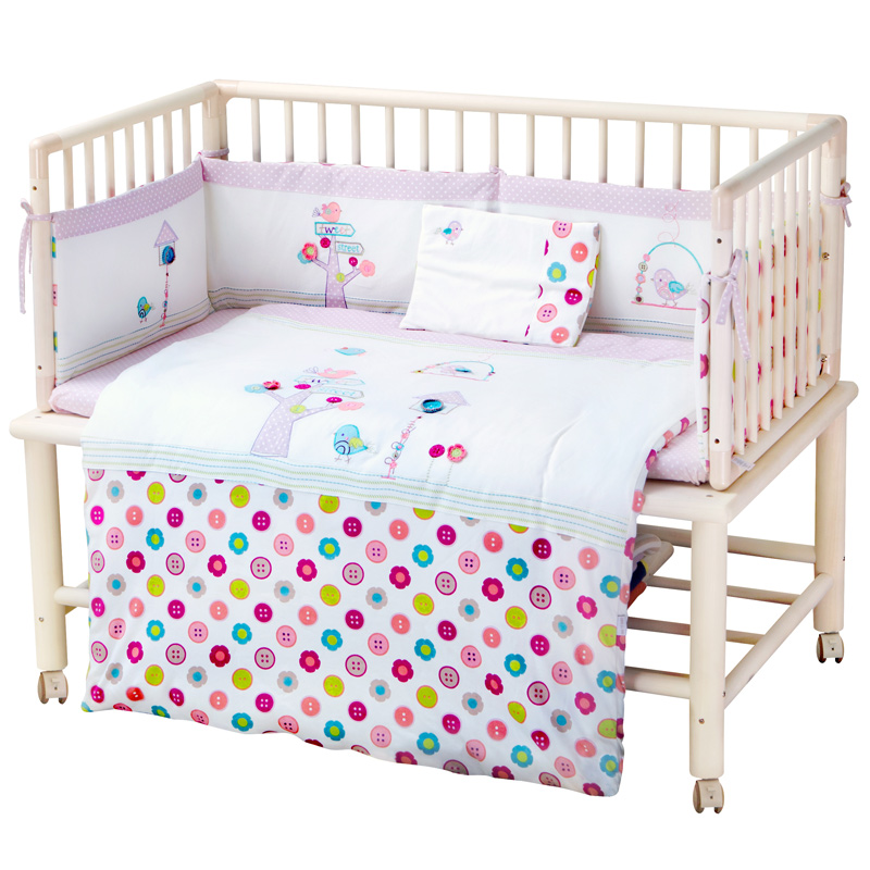 百承堂婴儿床床上用品七件套(莫纳花语/粉色)