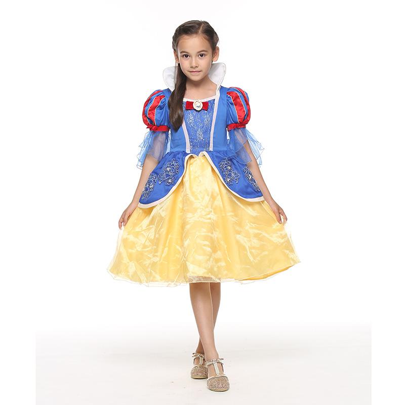 迪士尼白雪公主喇叭袖连衣裙宝蓝