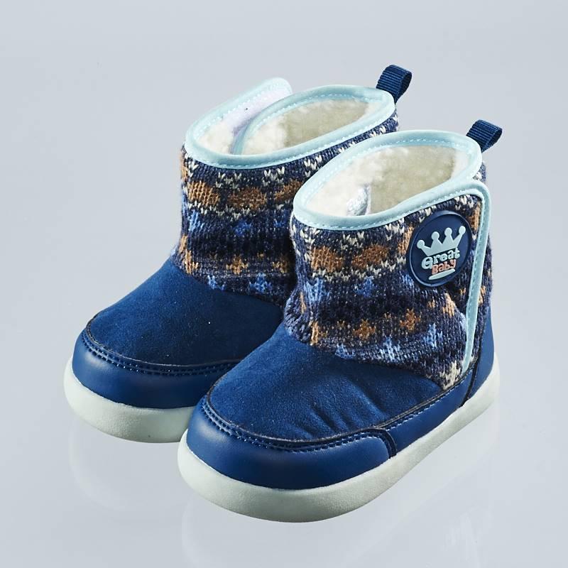 歌瑞贝儿(新)--复古保暖短靴(婴儿鞋)GB144-045SH蓝15CM