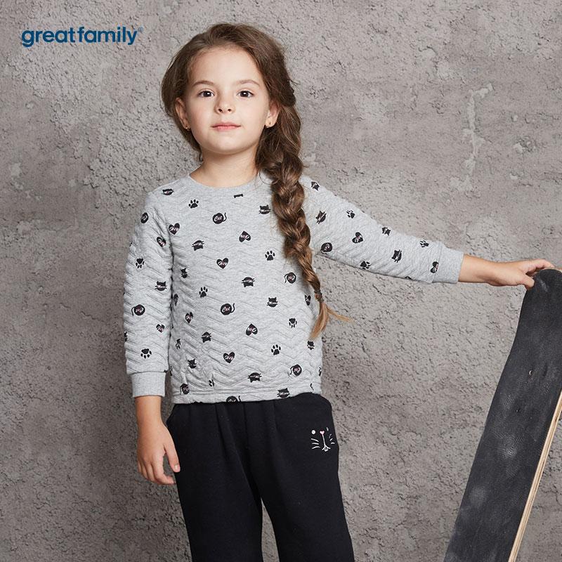 歌瑞家(Greatfamily)A类女童灰色波点图案绗棉三保暖针织套头卫衣