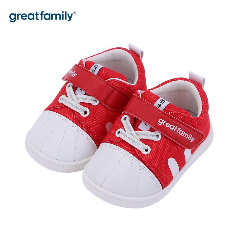 歌瑞家(greatfamily)中性百搭宝宝鞋GBS3-004SH红12CM双