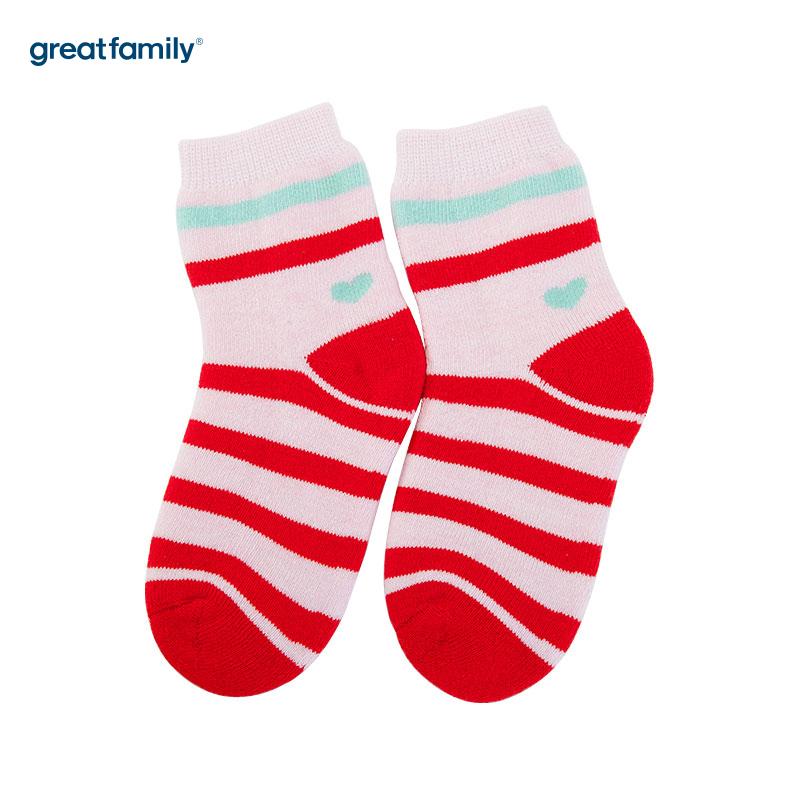 歌瑞家(Greatfamily)A类红色纯棉女童中袜
