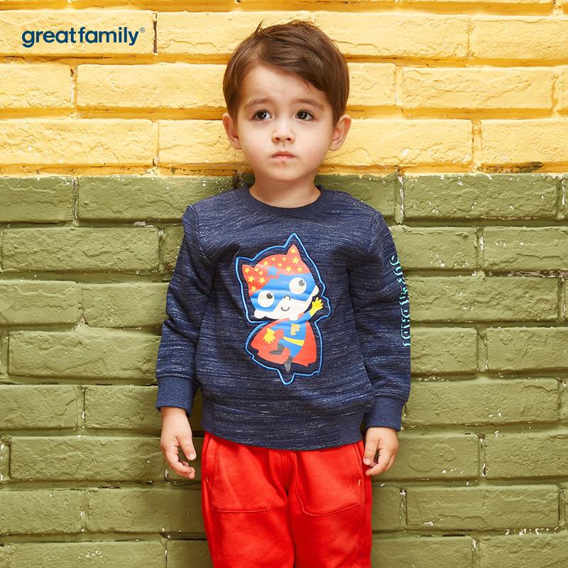 歌瑞家(Greatfamily)A类男宝宝藏青色纯棉小超人立体图案卫衣