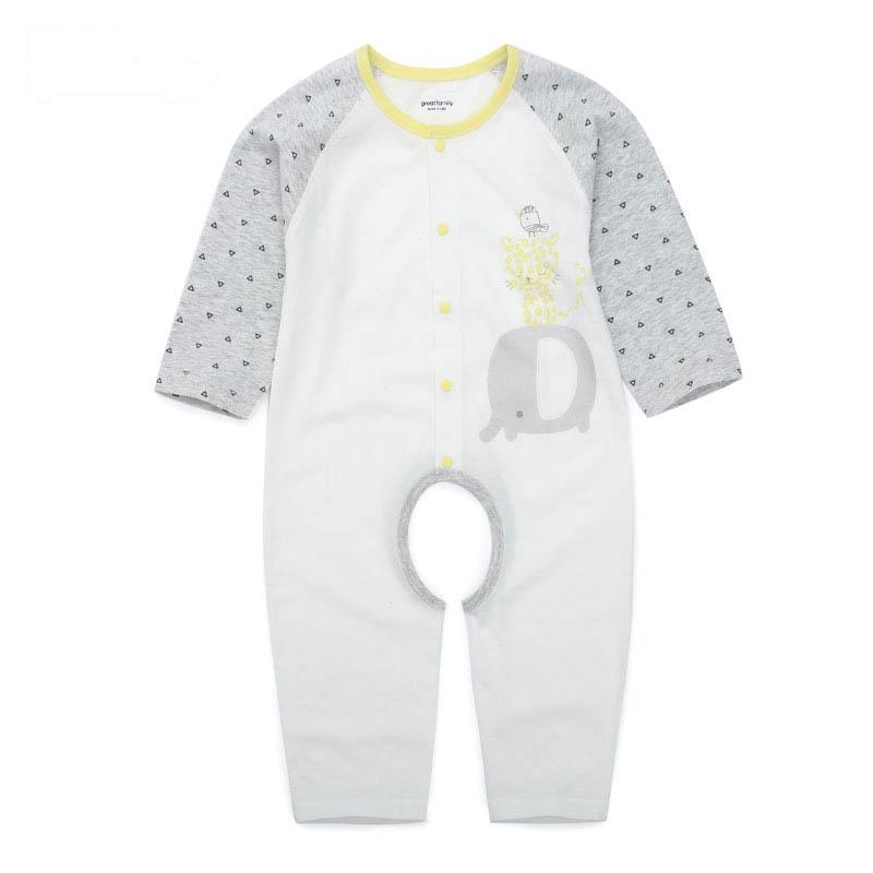 歌瑞家A类男宝宝白色纯棉挖裆连身衣