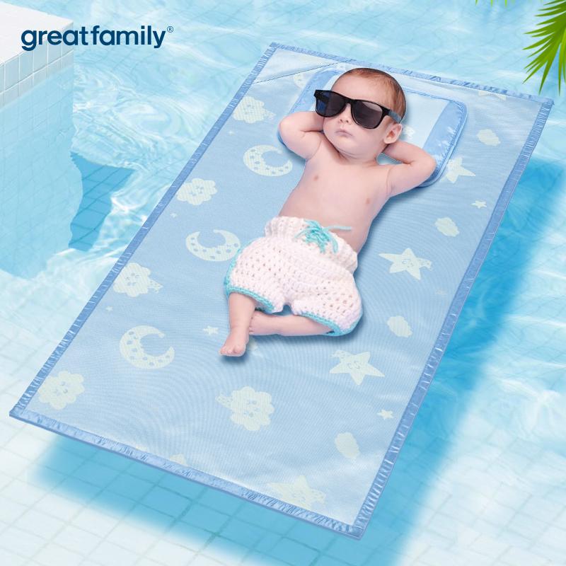 歌瑞家A类蓝男女宝宝适用枕头冰丝凉枕
