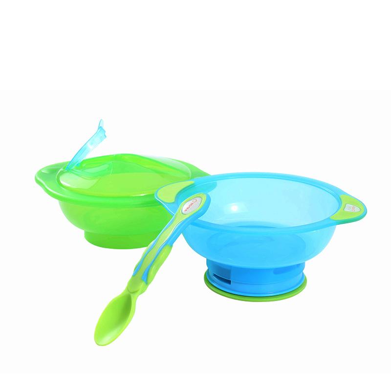 英国韦特儿带盖勺防滑餐碗套装(绿)