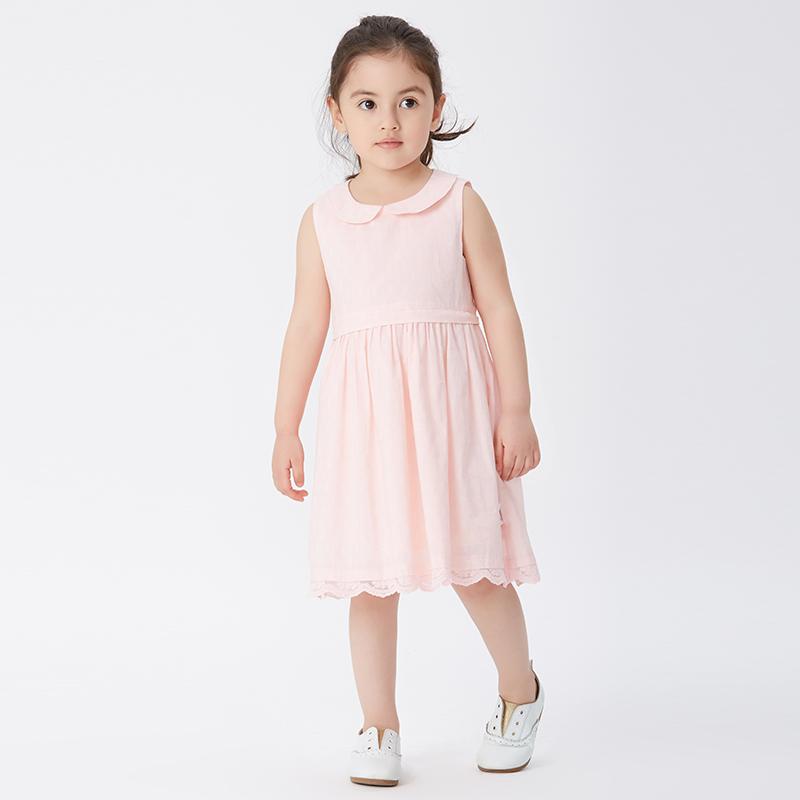 歌瑞家greatfamilyA类粉色女童梭织连衣裙