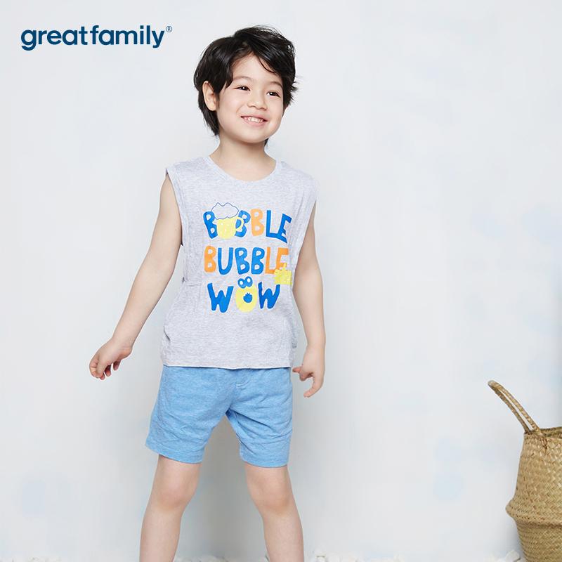 歌瑞家A类可爱精灵蓝色男童单面布短裤