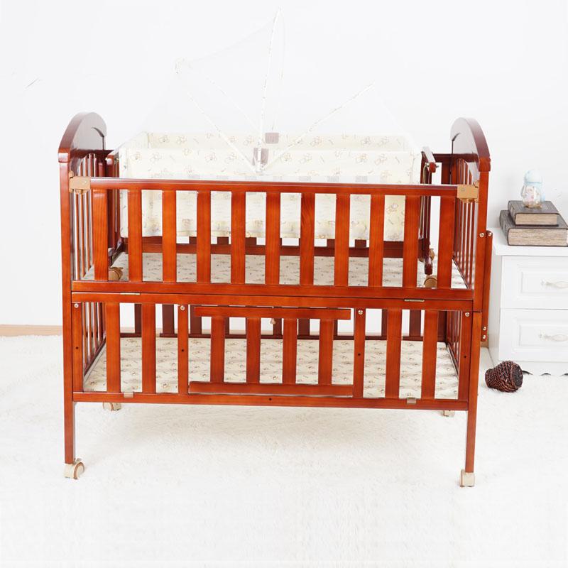 呵宝樱桃色实木婴儿床可调 节 樱桃色