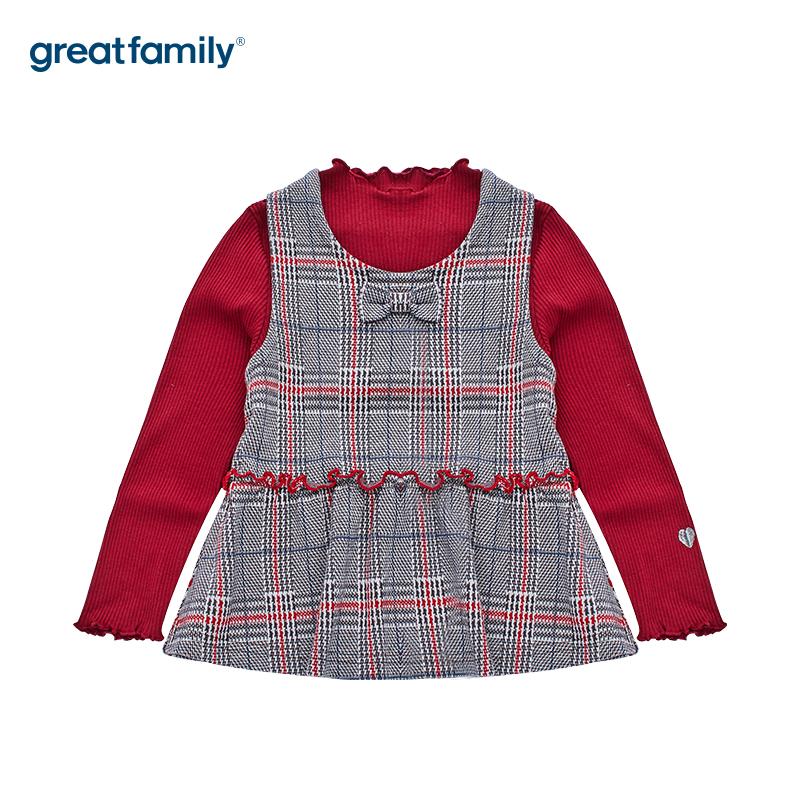 歌瑞家女童混色针织马甲套装两件套上衣秋冬