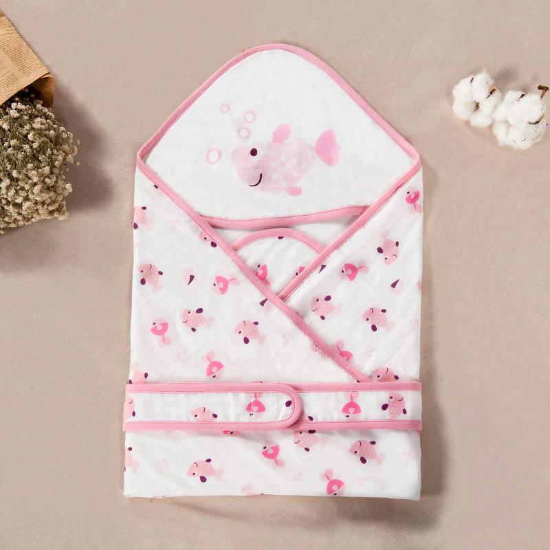 歌瑞家greatfamily双层纱布抱被粉色80*80cm