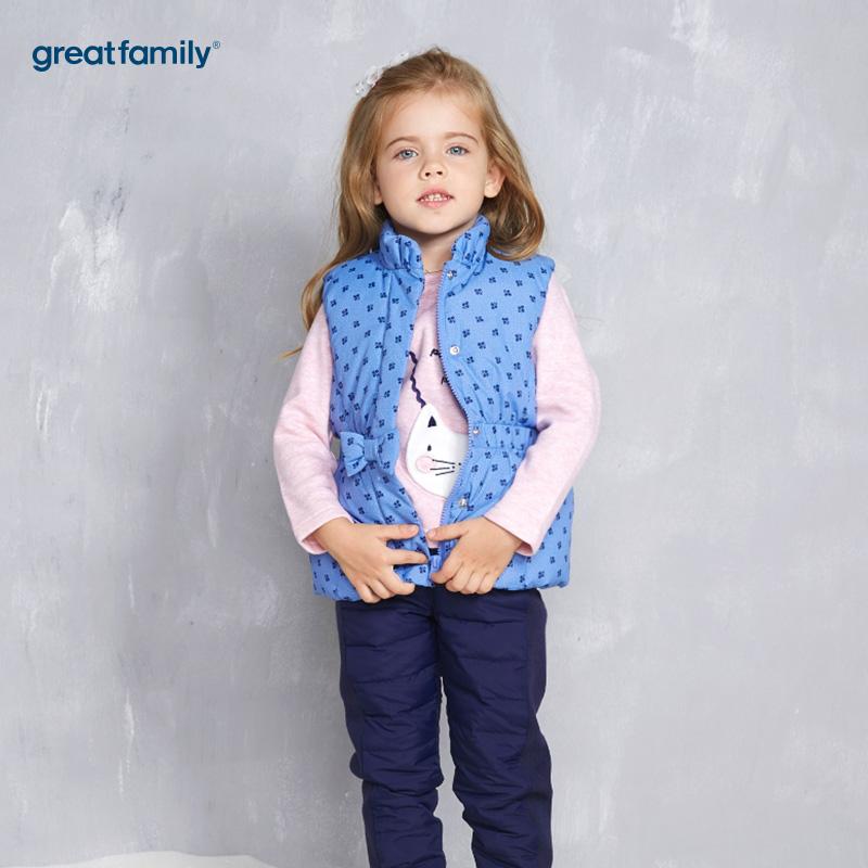 歌瑞家(Greatfamily)A类女童蓝色波点裙款风格立领羽绒马甲