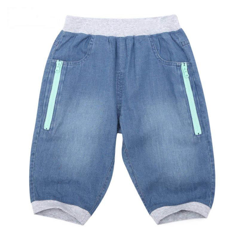 歌瑞家A类男童蓝色梭织牛仔五分裤