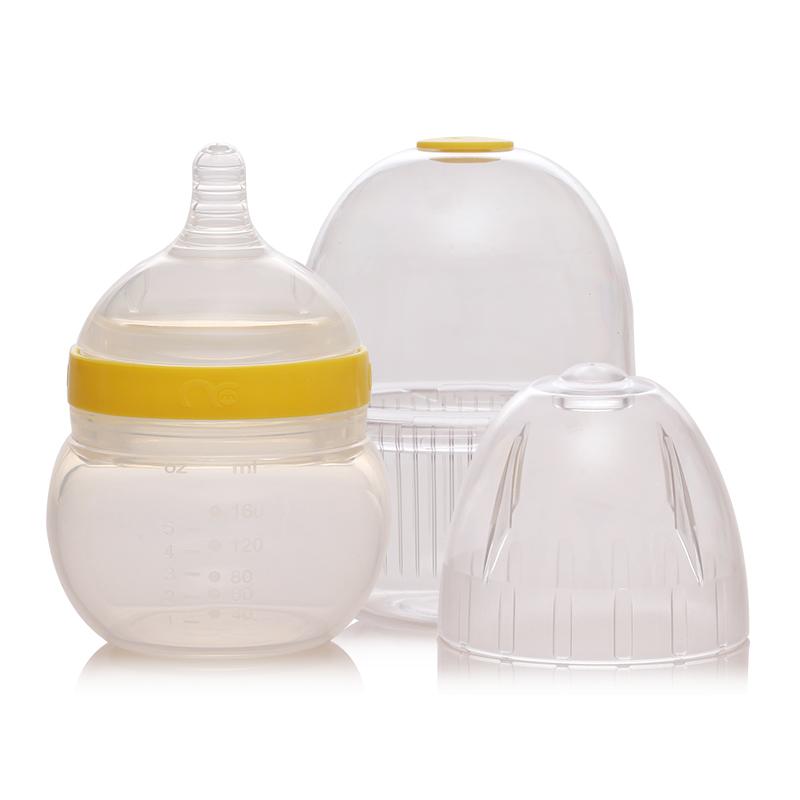 Mamiqing硅胶奶瓶黄色(内含奶瓶罩1个)160ml
