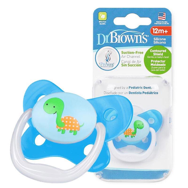 布朗博士DrBrown's蝴蝶形舒适安抚奶嘴12个月以上蓝色