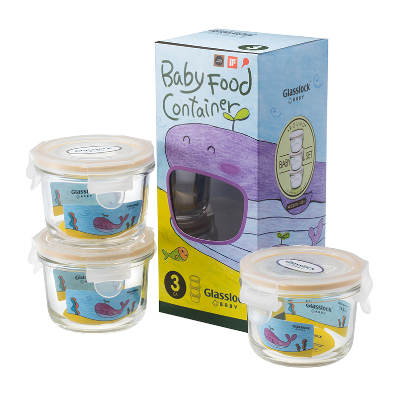 韩国Glasslock Baby网鲸鱼卡通彩盒 圆形婴儿辅食盒3件套