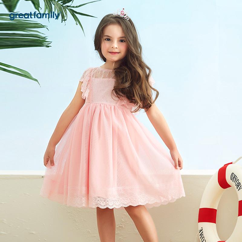 歌瑞家A类可爱精灵粉色女童针梭织拼接连衣裙