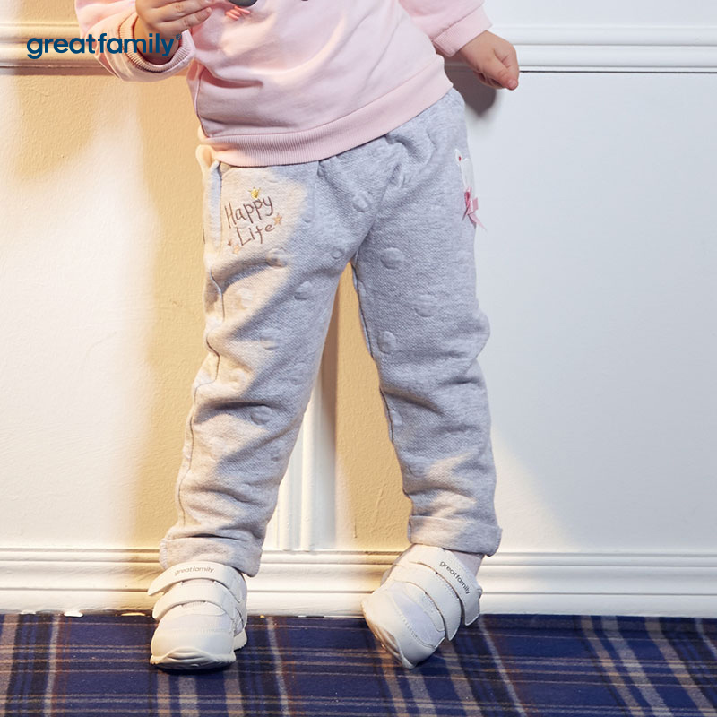 歌瑞家(婴外)A类时尚宝贝灰色女哈伦裤