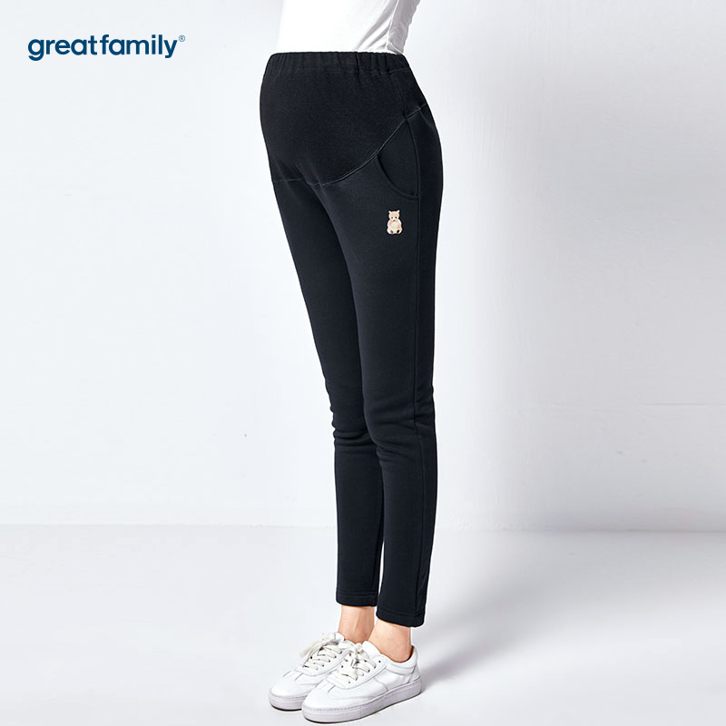 歌瑞家(greatfamily)黑色加绒保暖毛打底裤