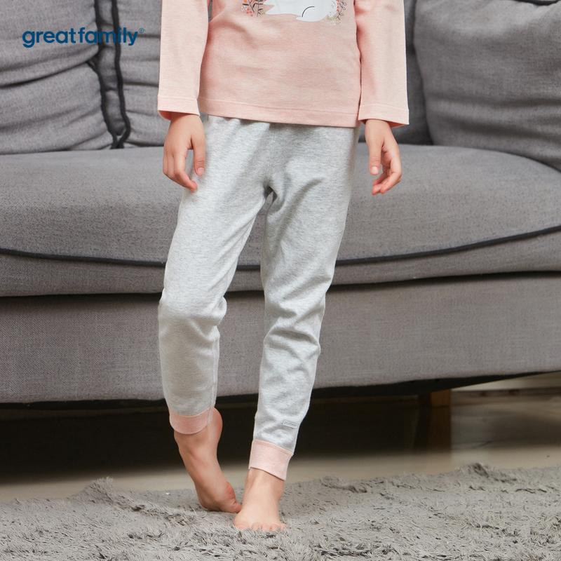 歌瑞家A类花纱双面布系列灰色女女童长裤
