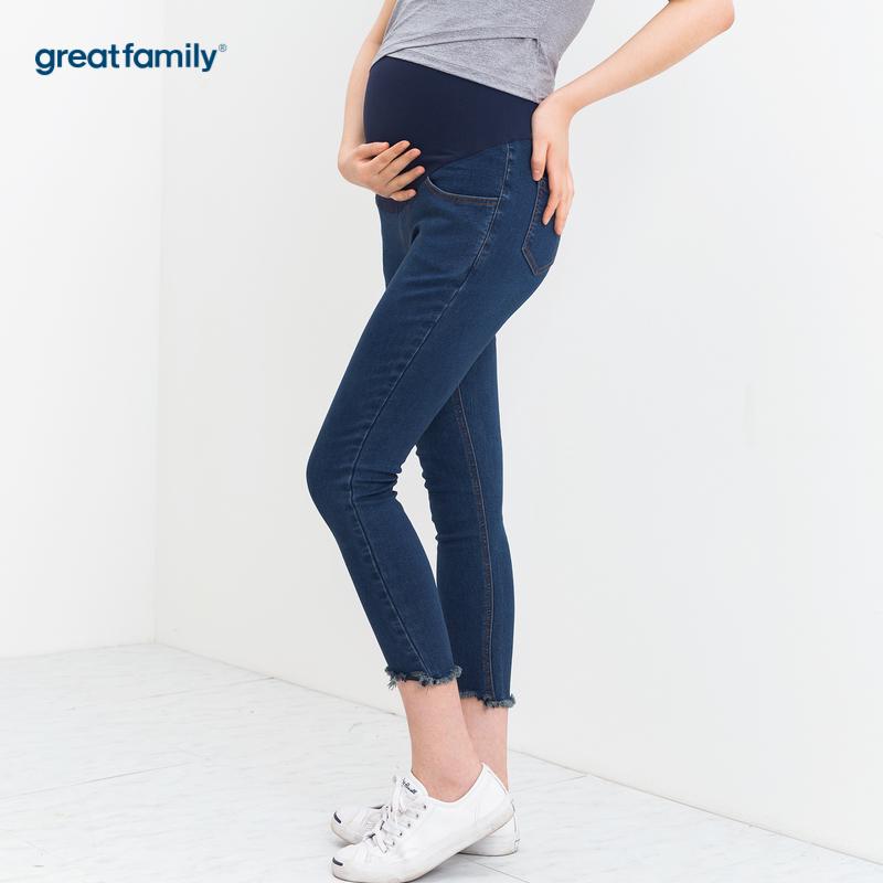 歌瑞家孕外蓝色女360牛仔裤磨边