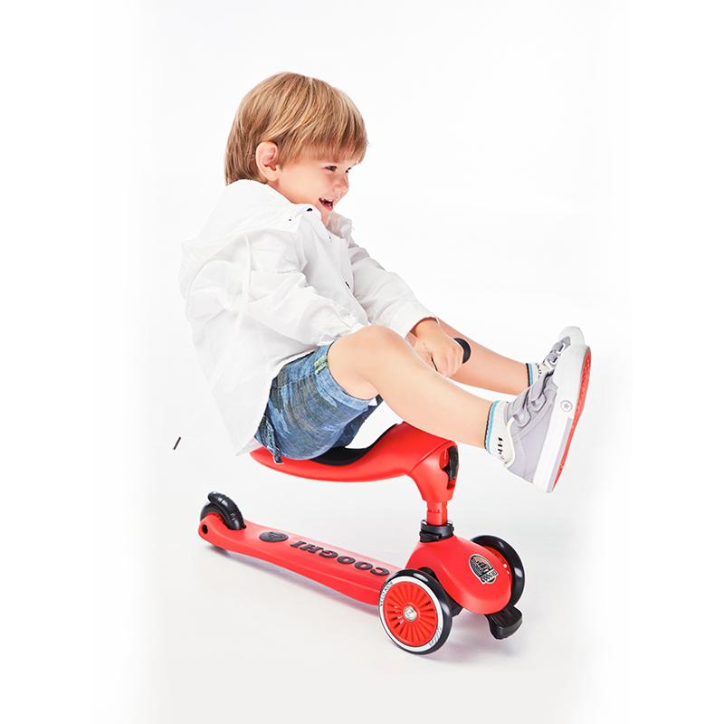COOGHI酷骑Veli Kids1维乐宝贝多功能二合一滑板车学步车 圣诞红