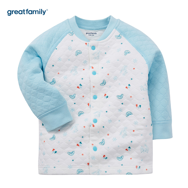 歌瑞家(Greatfamily)A类男宝宝厚三保暖混色对襟上衣