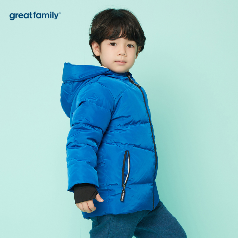 歌瑞家A类男童蓝中长款羽绒服