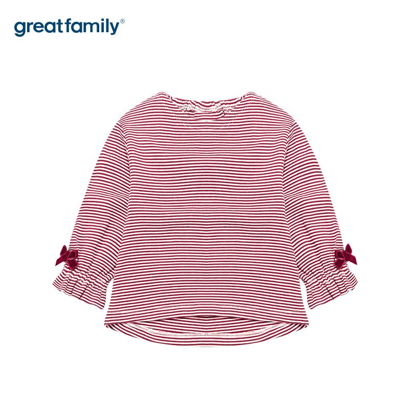 歌瑞家A类酷帅宝贝红色条纹女百搭T恤