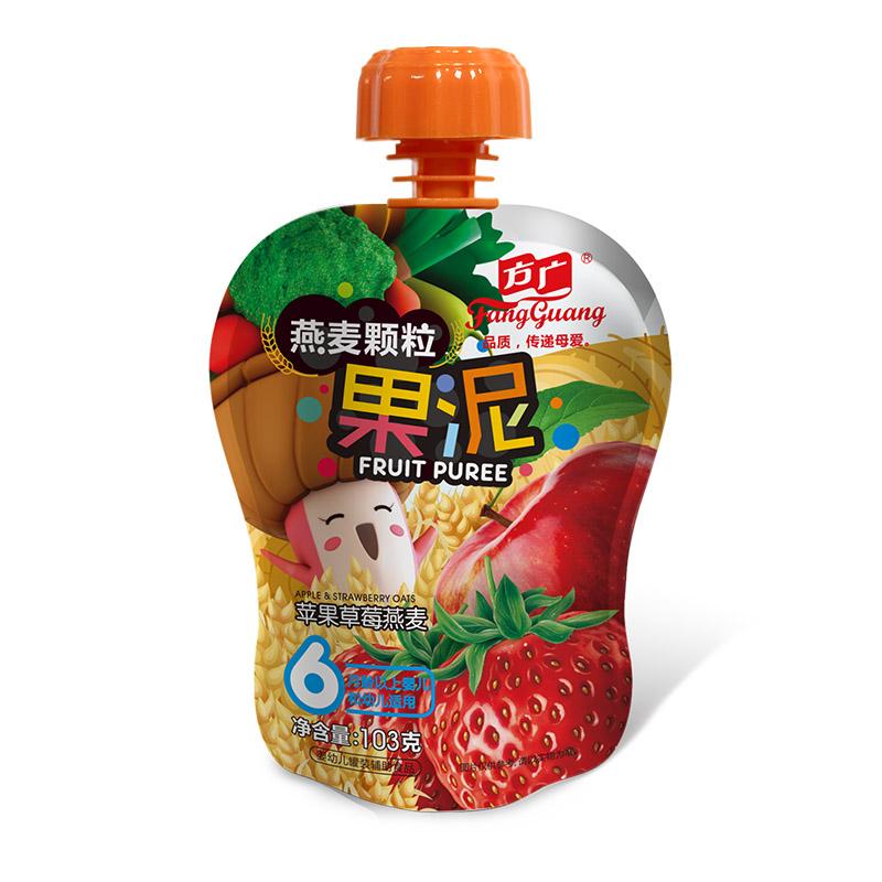 方广苹果草莓燕麦颗粒果泥103g