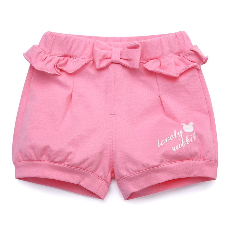 歌瑞家夏季A类纯棉女宝宝粉色短裤