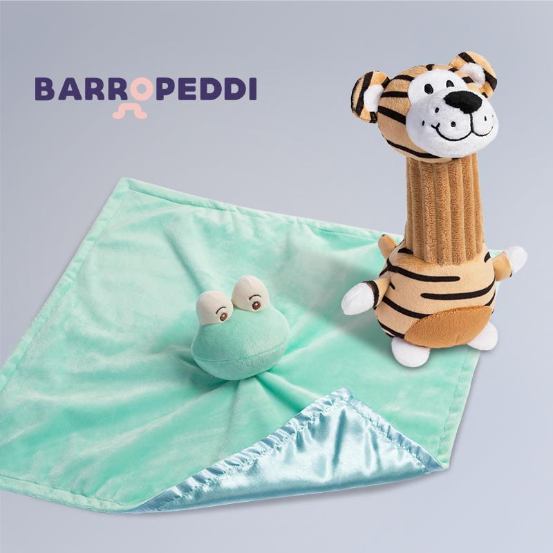 法国Barropeddi宝宝安抚两件套 绿青蛙安抚巾+老虎摇棒