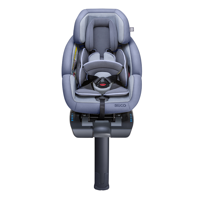 hotmom辣妈儿童汽车安全座椅BC689F款可坐可躺一键安装绝对安全 星空灰