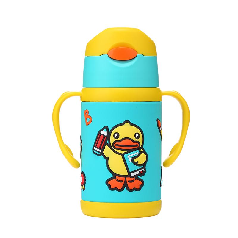 小黄鸭B.Duck双柄软胶吸管保温水壶(绿色)300ML防摔软胶包裹