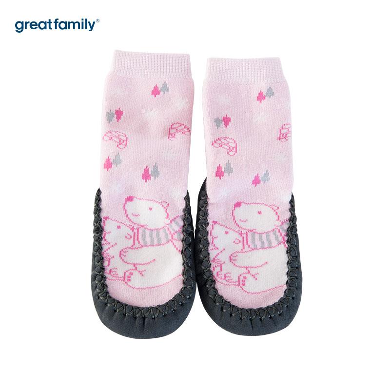 歌瑞家(Greatfamily)A类粉色纯棉女童地板袜