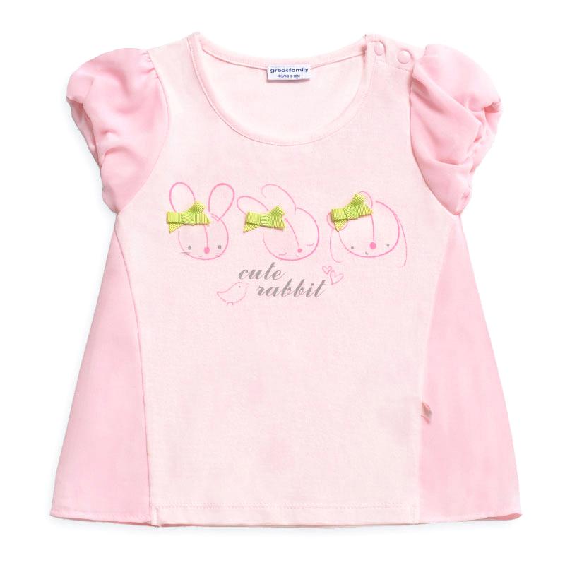 歌瑞家A类女宝宝粉色小兔子雪纺T恤